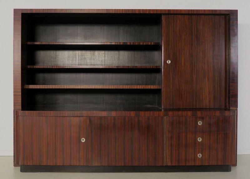 Praktischer Bauhaus / Art Deco Bücherschrank aus Macassar - Holz Antik Kolosseum