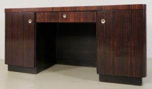 Eleganter Bauhaus / Art Deco Schreibtisch aus Macassarholz Antik Kolosseum