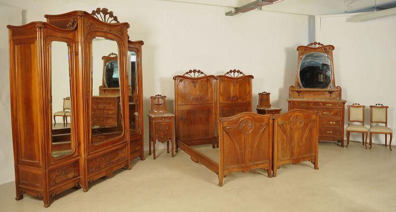 Seltenes 8-teiliges Jugendstil Schlafzimmer aus Mahagoni Antik ...