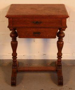 Gründerzeit Nähkästchen gefertigt um 1900 aus Eichenholz Antik Kolosseum