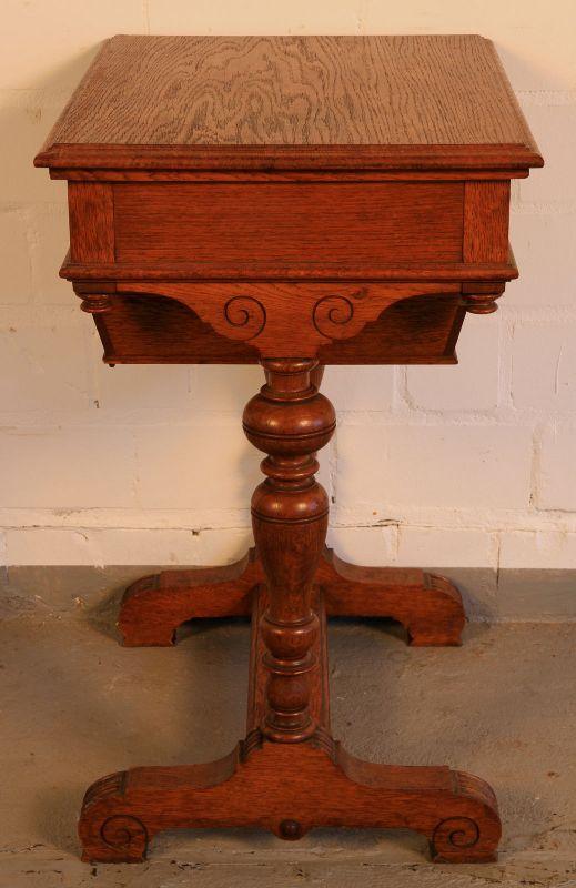 Gründerzeit Nähkästchen gefertigt um 1900 aus Eichenholz Antik Kolosseum 1