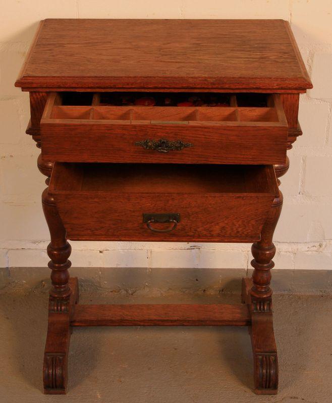 Gründerzeit Nähkästchen gefertigt um 1900 aus Eichenholz Antik Kolosseum 2