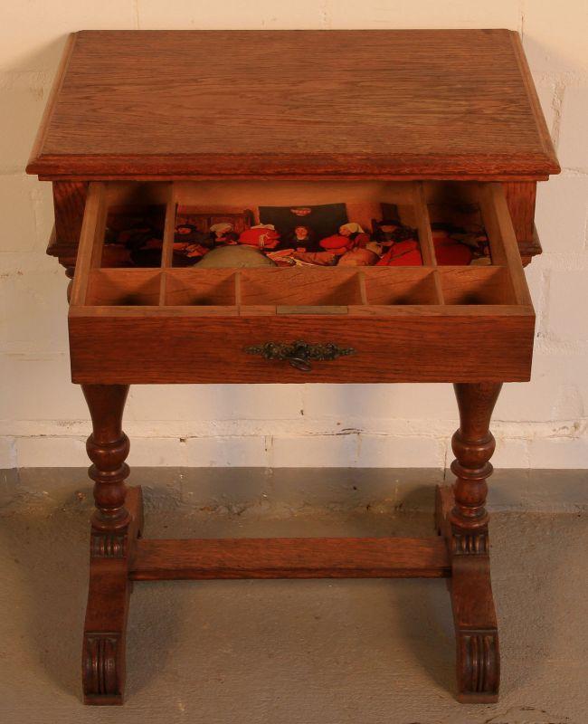 Gründerzeit Nähkästchen gefertigt um 1900 aus Eichenholz Antik Kolosseum 3