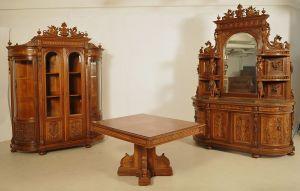 Seltenes figürliches Gründerzeit Prunk-Speisezimmer Antik Kolosseum