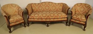 Neorenaissonce Sitzgruppe mit Sofa und zwei Sesseln Antik Kolosseum