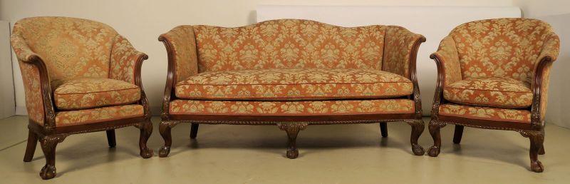 Neorenaissonce Sitzgruppe mit Sofa und zwei Sesseln Antik Kolosseum 1