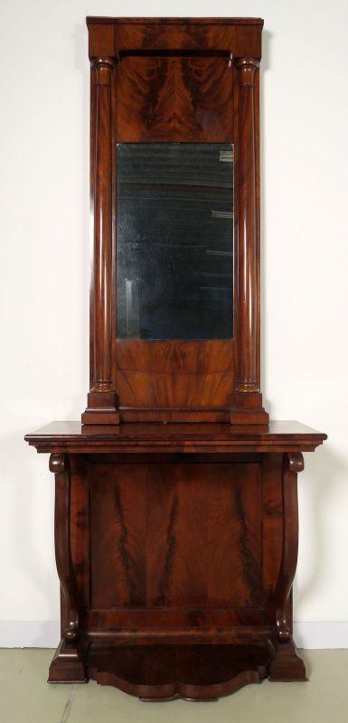 Schöne original Biedermeier Spiegel - Konsole aus Mahagoni Antik Kolosseum