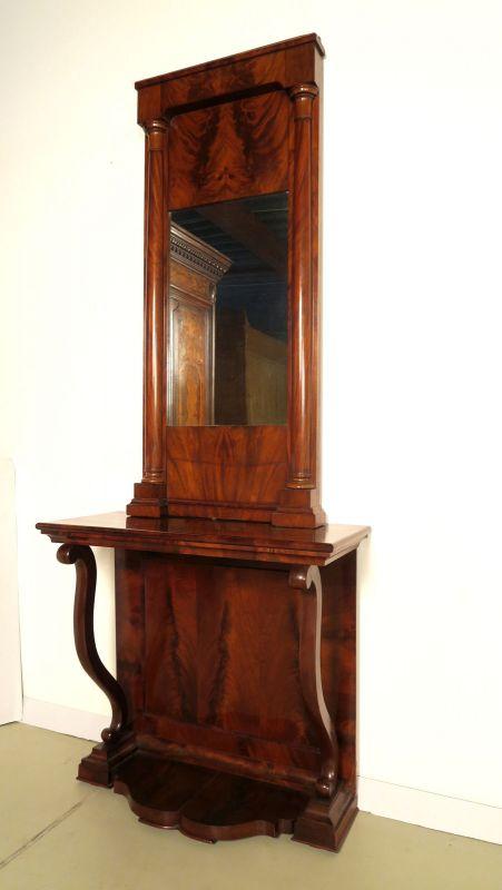 Schöne original Biedermeier Spiegel - Konsole aus Mahagoni Antik Kolosseum 1