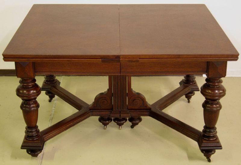 Schöner Auszug- Tisch aus der Gründerzeit mit Einlegeböden Antik Kolosseum 1