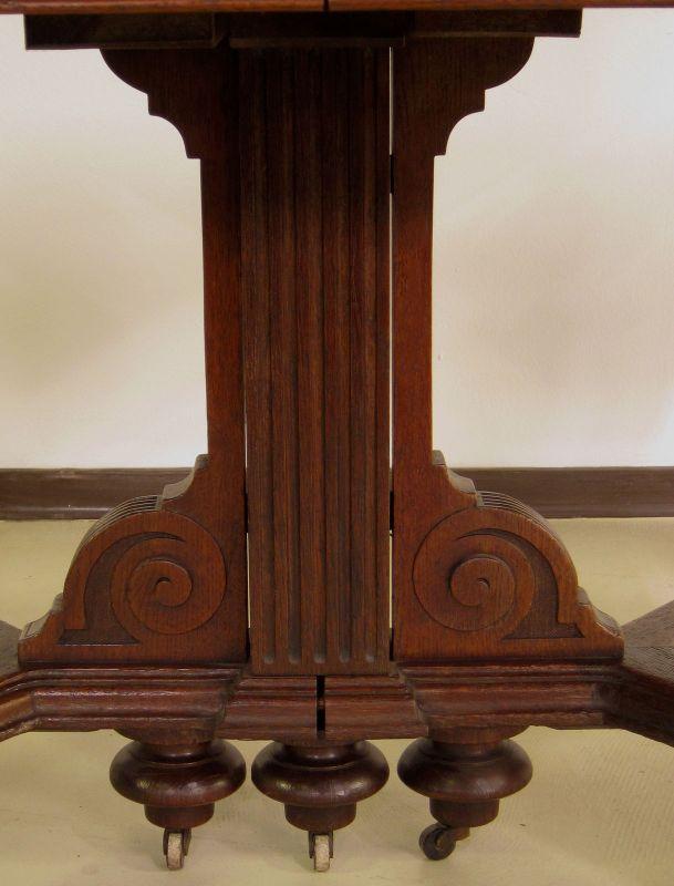 Schöner Auszug- Tisch aus der Gründerzeit mit Einlegeböden Antik Kolosseum 11