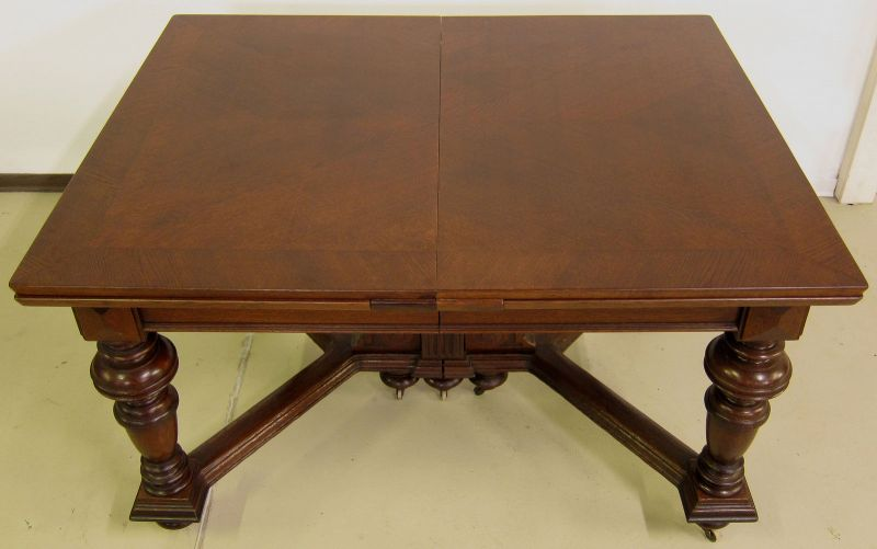 Schöner Auszug- Tisch aus der Gründerzeit mit Einlegeböden Antik Kolosseum 2