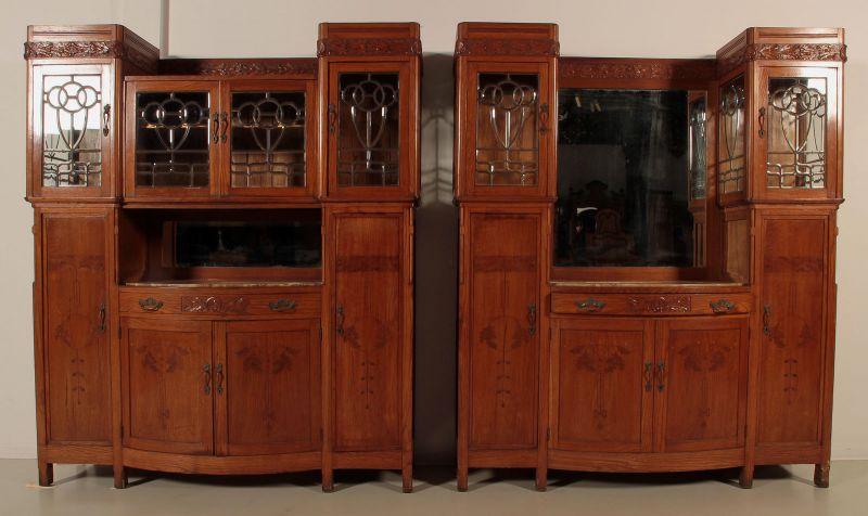 Zwei schöne Jugendstil Buffets mit wunderschönen Glasarbeiten Antik Kolosseum 0