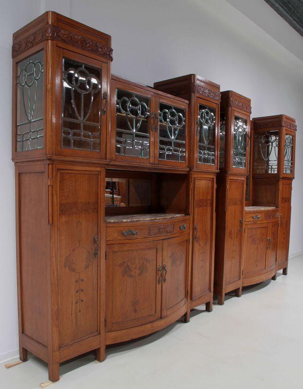Zwei schöne Jugendstil Buffets mit wunderschönen Glasarbeiten Antik Kolosseum 1