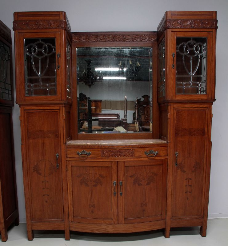 Zwei schöne Jugendstil Buffets mit wunderschönen Glasarbeiten Antik Kolosseum 3