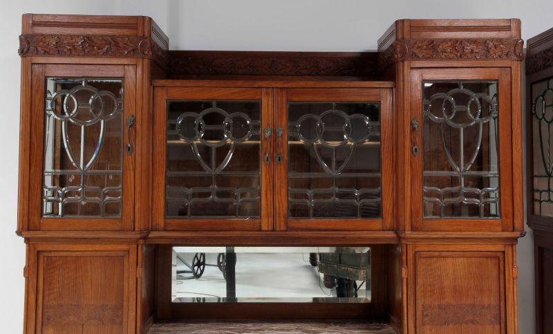 Zwei schöne Jugendstil Buffets mit wunderschönen Glasarbeiten Antik Kolosseum 5