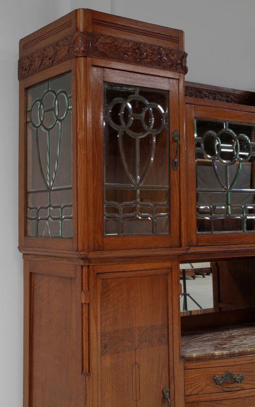 Zwei schöne Jugendstil Buffets mit wunderschönen Glasarbeiten Antik Kolosseum 8