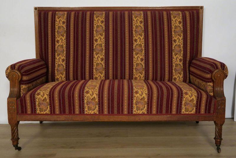 Elegantes Gründerzeit Sofa / Couch aus Nussbaum Antik Kolosseum 0