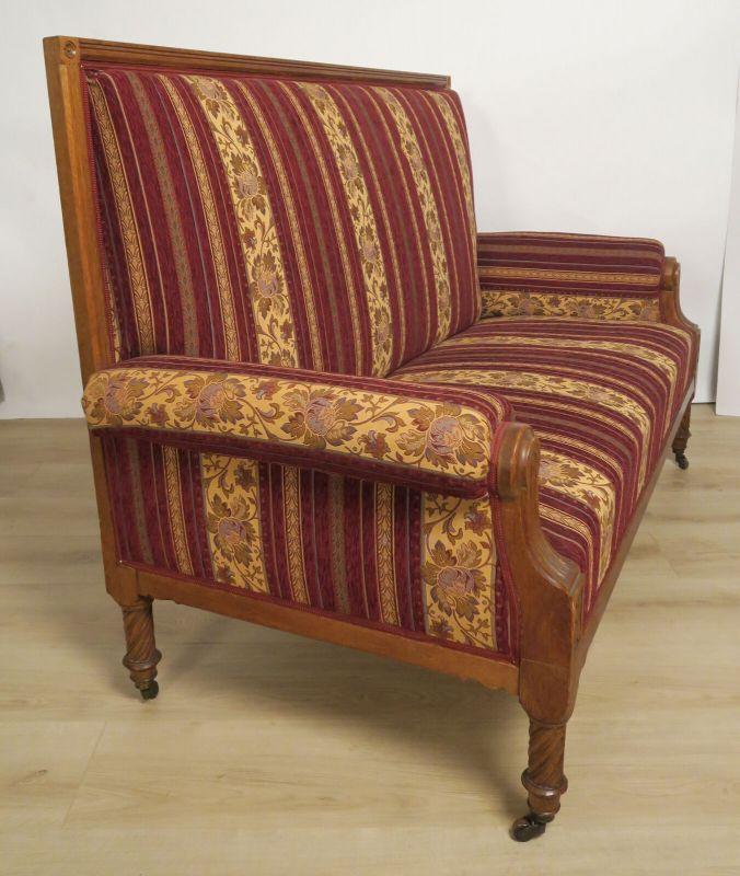 Elegantes Gründerzeit Sofa / Couch aus Nussbaum Antik Kolosseum 1