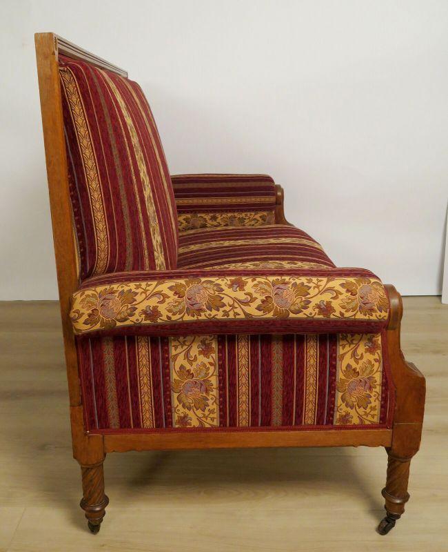 Elegantes Gründerzeit Sofa / Couch aus Nussbaum Antik Kolosseum 2