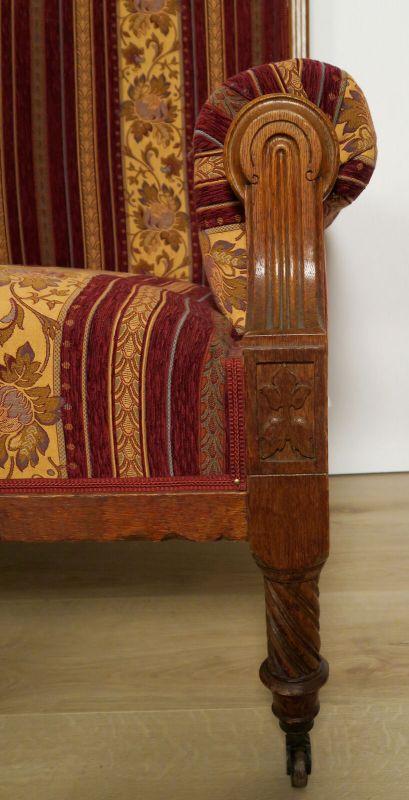 Elegantes Gründerzeit Sofa / Couch aus Nussbaum Antik Kolosseum 4