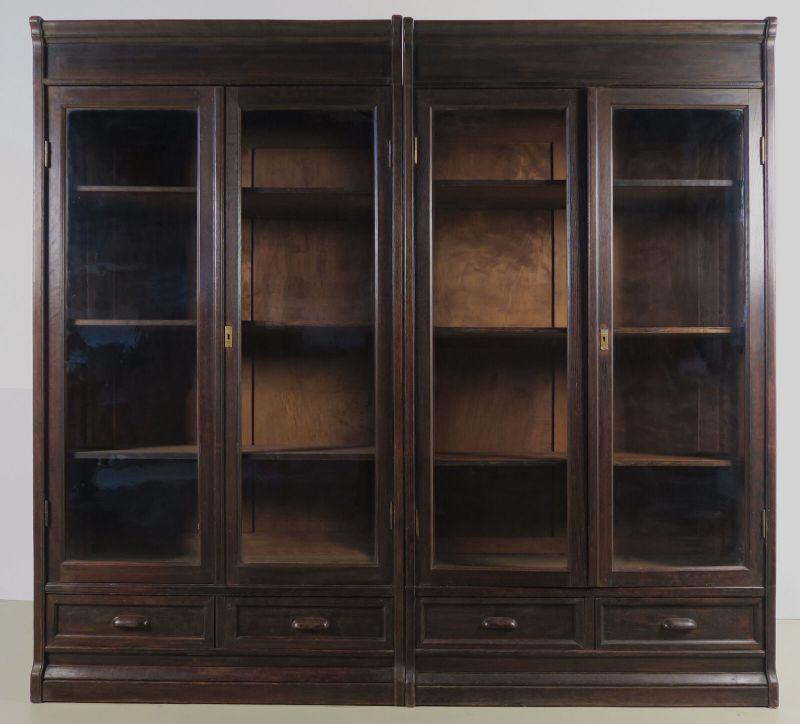 Jugendstil Bücherwand / Bibliothekschrank zwei Vitrinen/ein RegalAntik Kolosseum 1