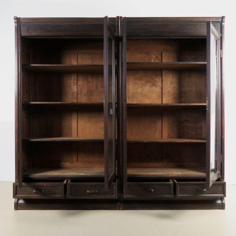 Jugendstil Bücherwand / Bibliothekschrank zwei Vitrinen/ein RegalAntik Kolosseum 2