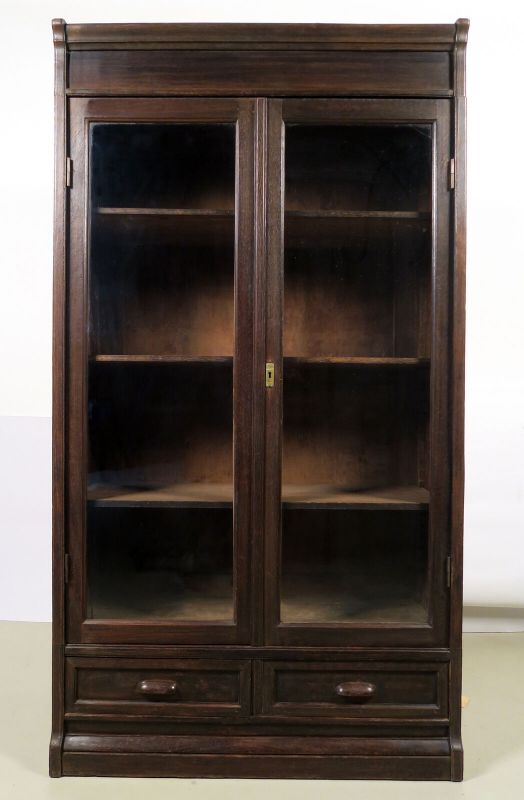 Jugendstil Bücherwand / Bibliothekschrank zwei Vitrinen/ein RegalAntik Kolosseum 3