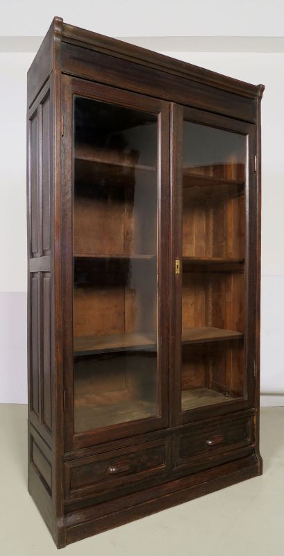 Jugendstil Bücherwand / Bibliothekschrank zwei Vitrinen/ein RegalAntik Kolosseum 4