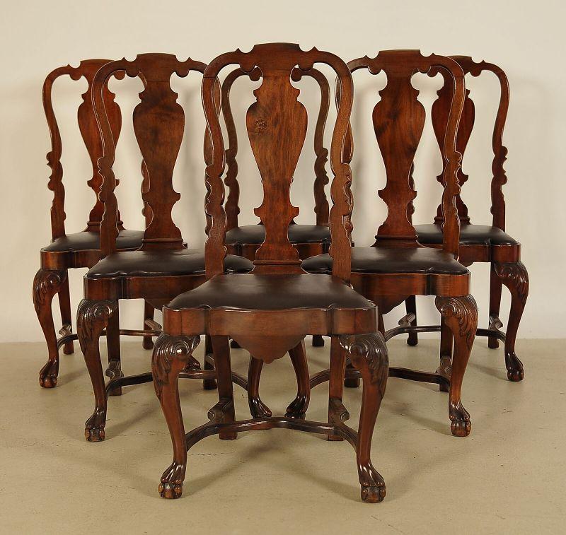 Sechs Queen Anne Stühle aus Mahagoni gefertigt um 1900 Antik Kolosseum
