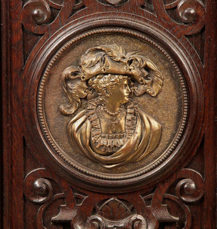 Gründerzeit Prunk Vertiko mit eleganten Bronzemedallions Antik Kolosseum 6