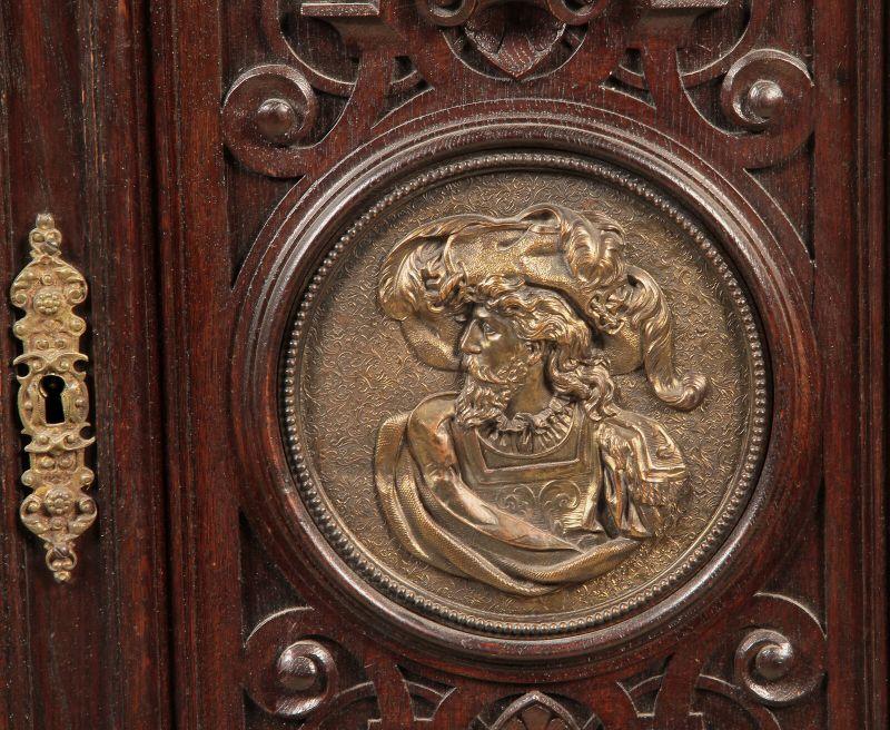Gründerzeit Prunk Vertiko mit eleganten Bronzemedallions Antik Kolosseum 7