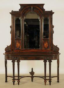 Seltene Makassar Spiegelkonsole aus dem Historismus Antik Kolosseum