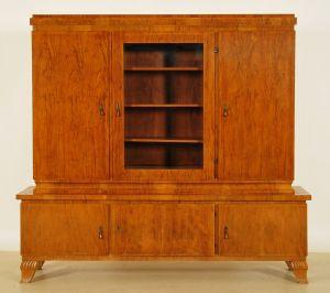 Kleiner Art Deco Nussbaum Bücherschrank mit Scheibe Antik Kolosseum