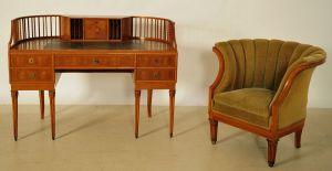 Wunderschöner Jugendstil Damenschreibtisch mit Sessel Antik Kolosseum
