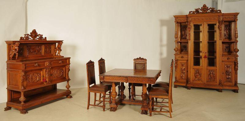 Seltenes 8- teiliges Gründerzeit Speisezimmer aus Nussbaum Antik - Kolosseum