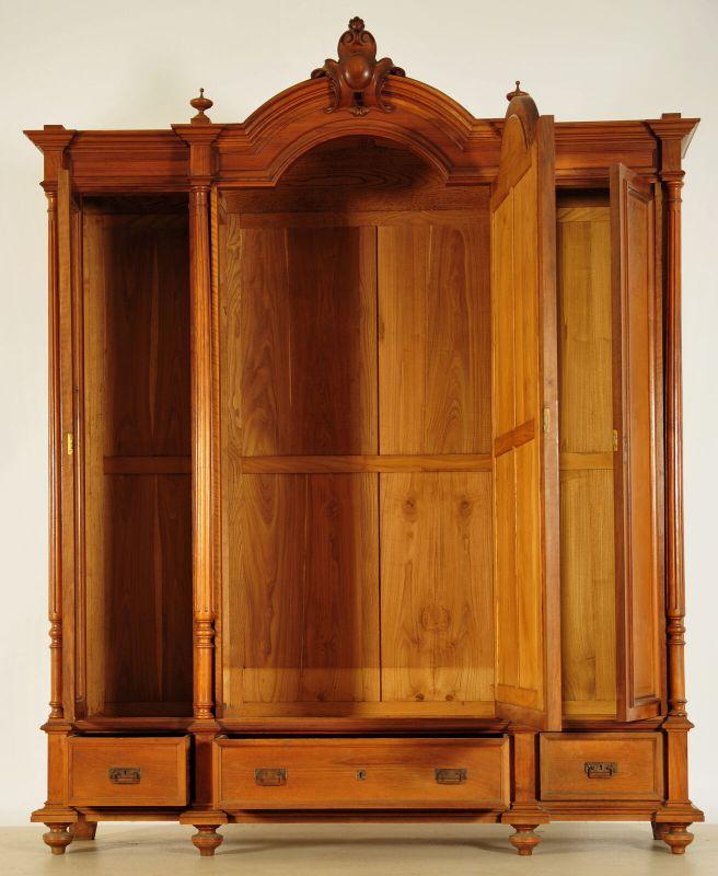 Schöner Gründerzeit Kleiderschrank mit facettierten Spiegel Antik Kolosseum 2