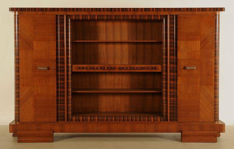 Eleganter Art Deco Nussbaum/Macassar Barschrank / Bücherschrank Antik Kolosseum