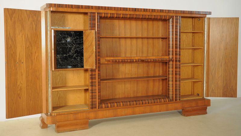 Eleganter Art Deco Nussbaum/Macassar Barschrank / Bücherschrank Antik Kolosseum 3
