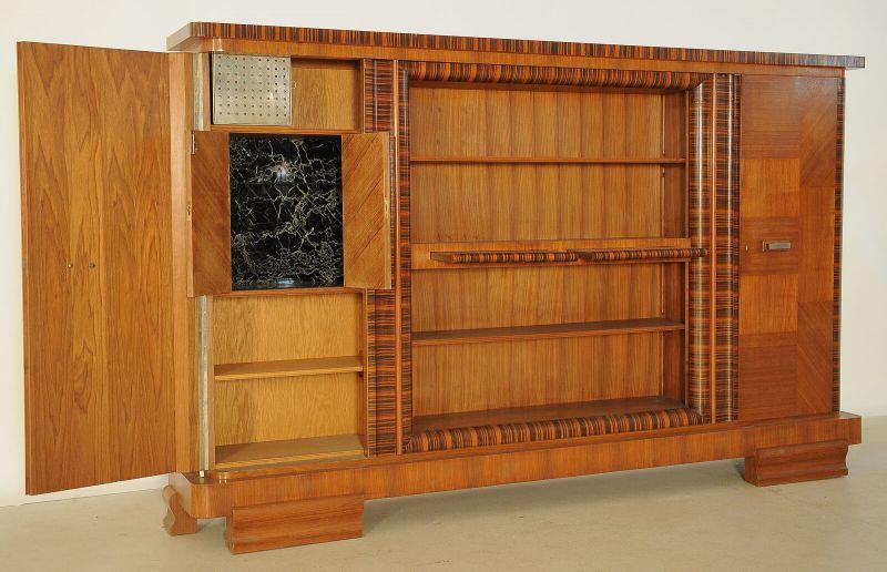 Eleganter Art Deco Nussbaum/Macassar Barschrank / Bücherschrank Antik Kolosseum 4