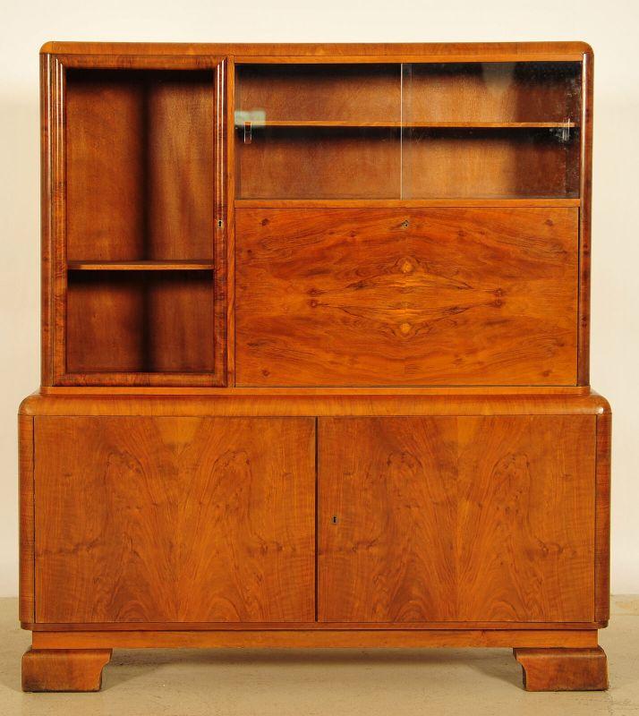 Elegante Art Deco Aufsatz - Vitrine mit Sekretärabteil Antik Kolosseum 0