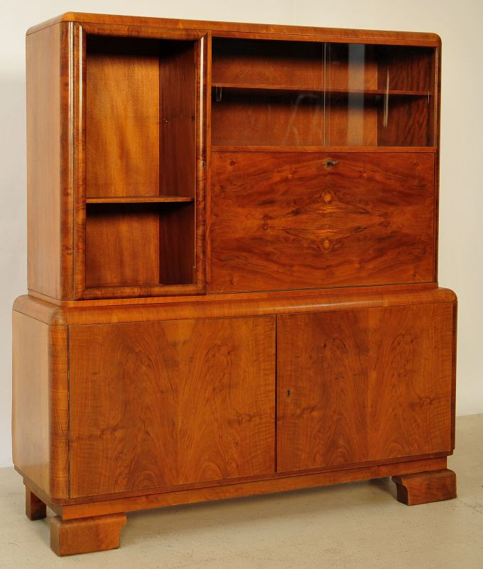 Elegante Art Deco Aufsatz - Vitrine mit Sekretärabteil Antik Kolosseum 1