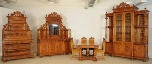 Seltenes elegntes zehnteiliges Gründerzeit Speisezimmer Antik Kolosseum
