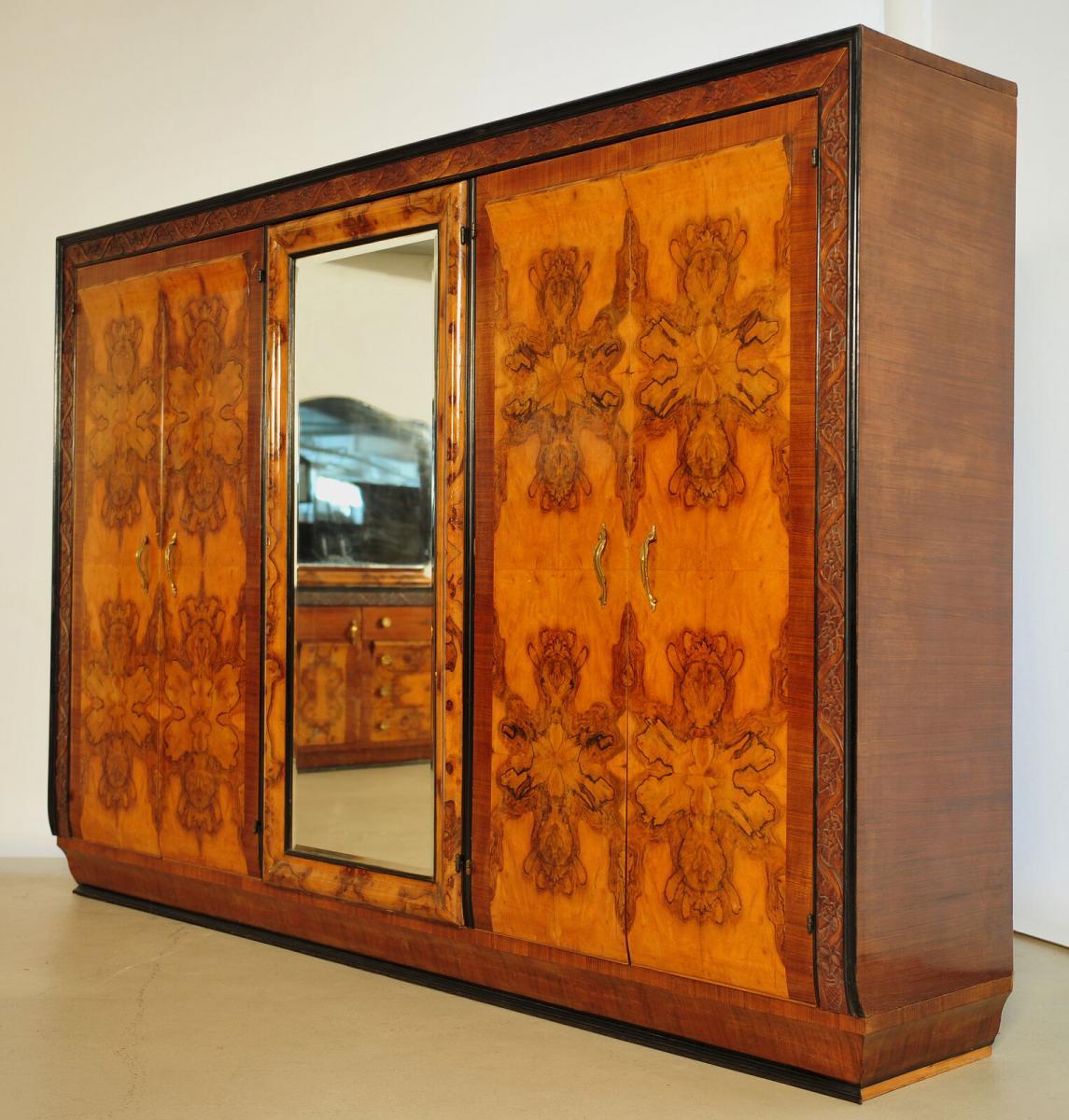 Dreiteiliges Art Deco Schlafzimmer mit unglaublichem Wurzelbild Antik Kolosseum 7
