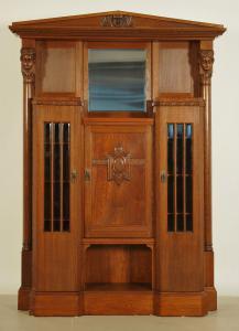 Eleganter Jugendstil Portalschrank mit Vollsäulen Antik Kolosseum