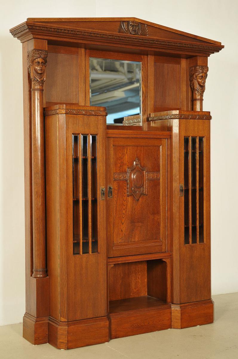 Eleganter Jugendstil Portalschrank mit Vollsäulen Antik Kolosseum 1