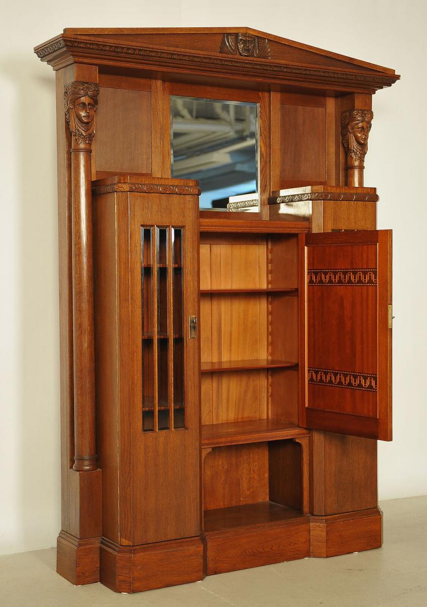 Eleganter Jugendstil Portalschrank mit Vollsäulen Antik Kolosseum 3
