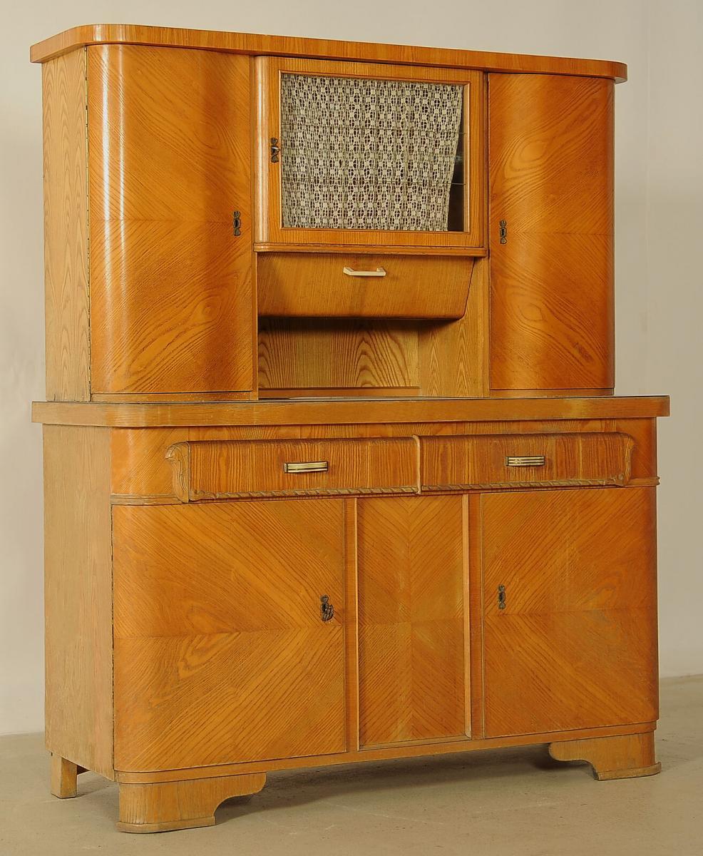 Praktischer Art Deco Küchenschrank aus Eschenholz Antik Kolosseum 1