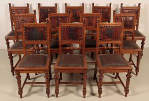 Seltener 12 Satz Gründerzeit Stühle mit Wappen Antik Kolosseum