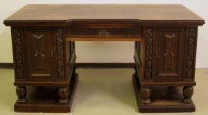 Gründerzeit Eiche Schreibtisch mit geschnitzten Türfüllungen Antik Kolosseum