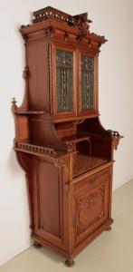 Eleganter Gründerzeit Kabinettschrank mit Butzenscheiben um 1900 Antik Kolosseum